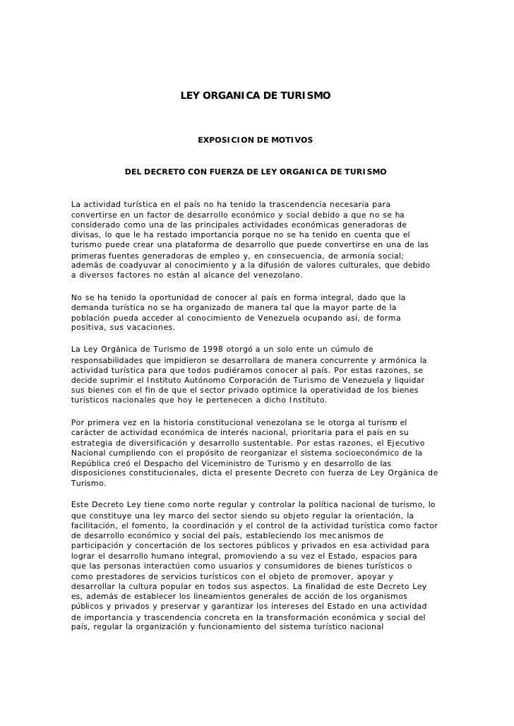LEY ORGANICA DE TURISMO                                   EXPOSICION DE MOTIVOS                DEL DECRETO CON FUERZA DE L...
