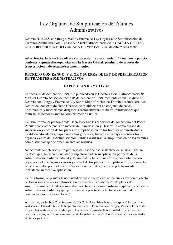 Ley Orgánica de Simplificación de Trámites                        AdministrativosDecreto N° 6.265, con Rango, Valor y Fuer...