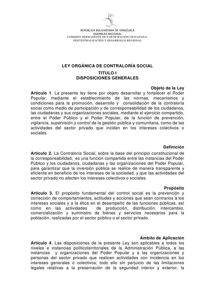 REPÚBLICA BOLIVARIANA DE VENEZUELA                                   ASAMBLEA NACIONAL                   COMISIÓN PERMANEN...