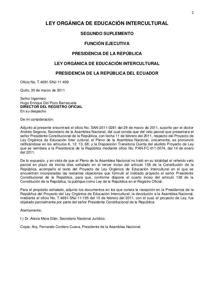 1                LEY ORGÁNICA DE EDUCACIÓN INTERCULTURAL                                       SEGUNDO SUPLEMENTO         ...
