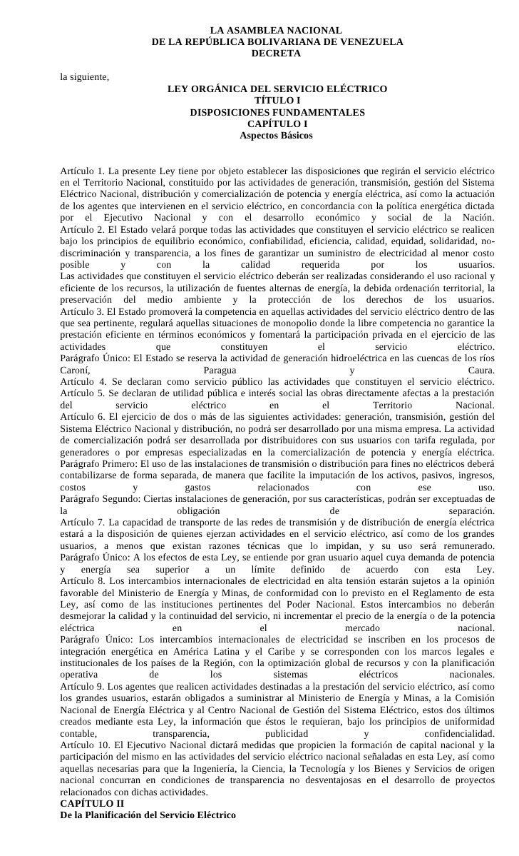 LA ASAMBLEA NACIONAL                         DE LA REPÚBLICA BOLIVARIANA DE VENEZUELA                                     ...