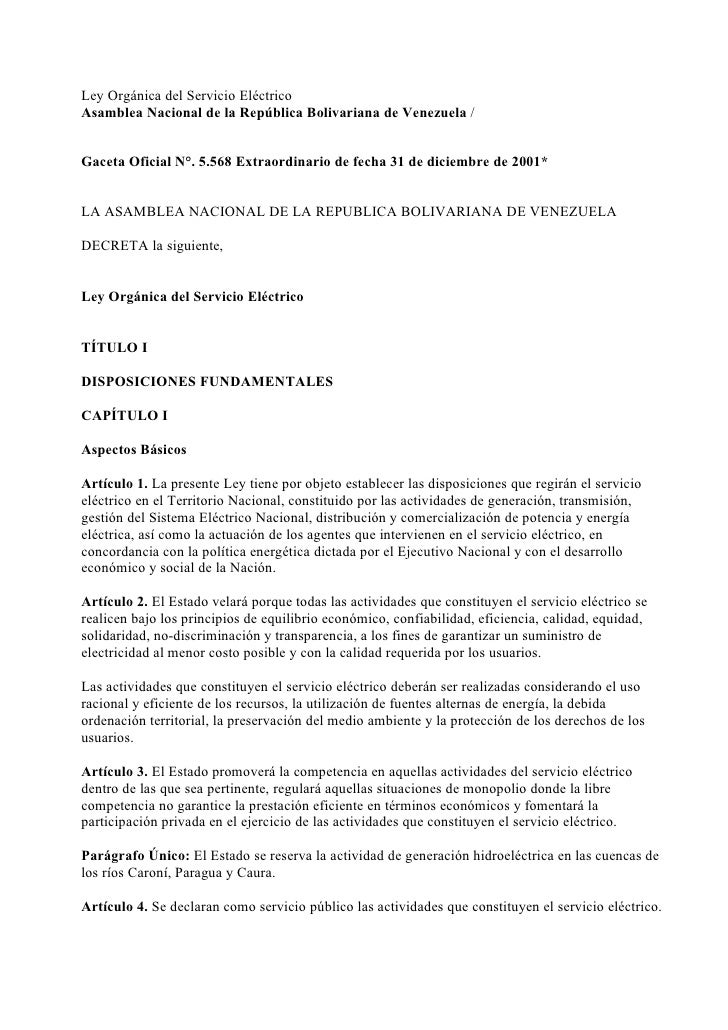 Ley Orgánica del Servicio Eléctrico Asamblea Nacional de la República Bolivariana de Venezuela /   Gaceta Oficial N°. 5.56...