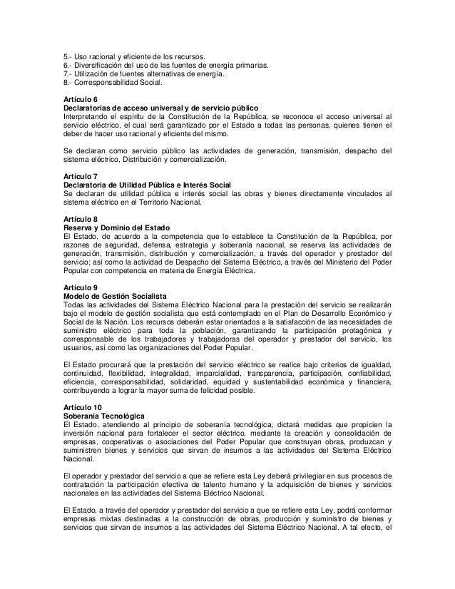 Ley Orgánica del Sistema y Servicio Eléctrico (14 12-2010) Slide 2