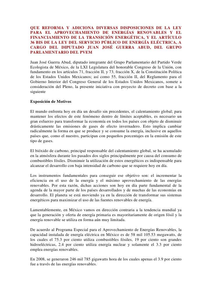 QUE REFORMA Y ADICIONA DIVERSAS DISPOSICIONES DE LA LEY PARA EL APROVECHAMIENTO DE ENERGÍAS RENOVABLES Y EL FINANCIAMIENTO...