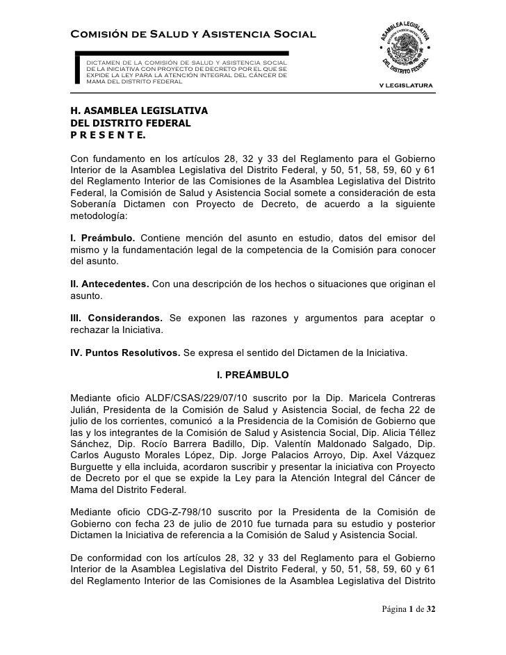 Comisión de Salud y Asistencia Social     DICTAMEN DE LA COMISIÓN DE SALUD Y ASISTENCIA SOCIAL    DE LA INICIATIVA CON PRO...
