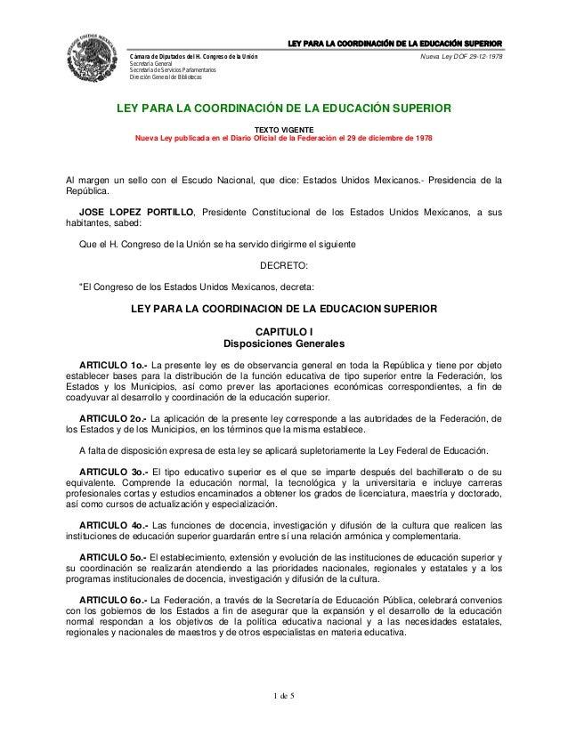 LEY PARA LA COORDINACIÓN DE LA EDUCACIÓN SUPERIOR               Cámara de Diputados del H. Congreso de la Unión           ...