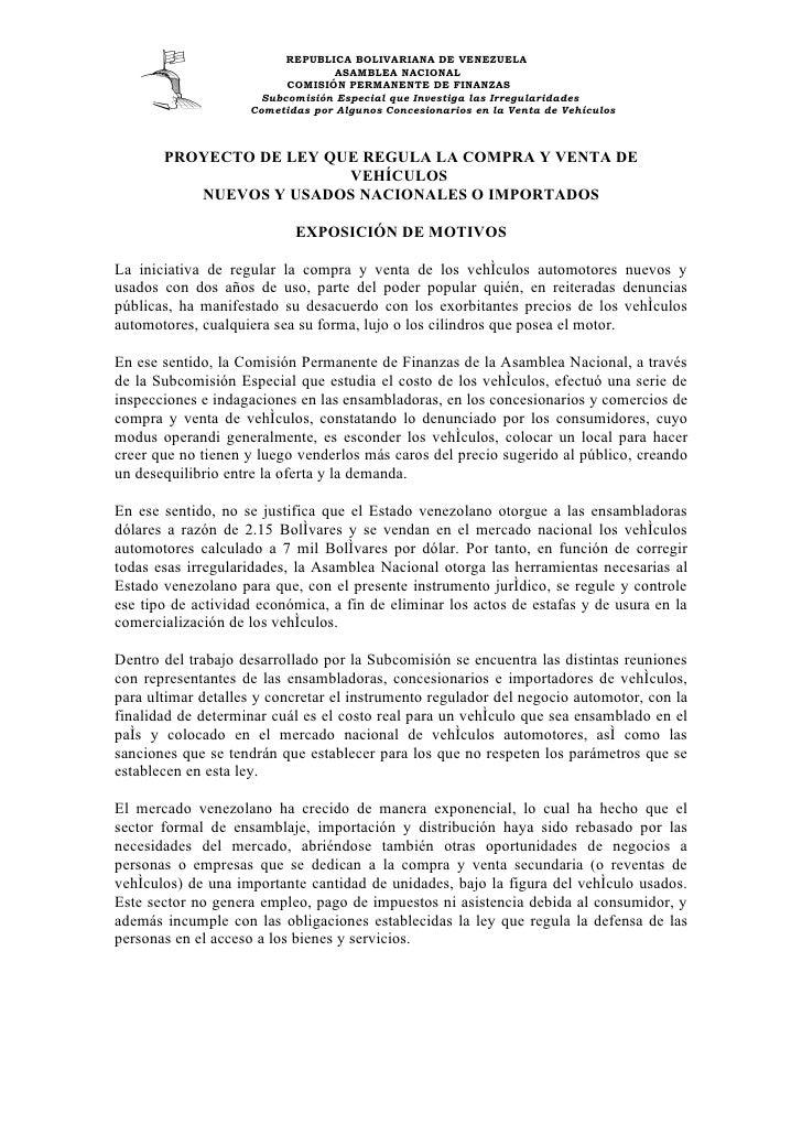 REPUBLICA BOLIVARIANA DE VENEZUELA                                   ASAMBLEA NACIONAL                           COMISIÓN ...