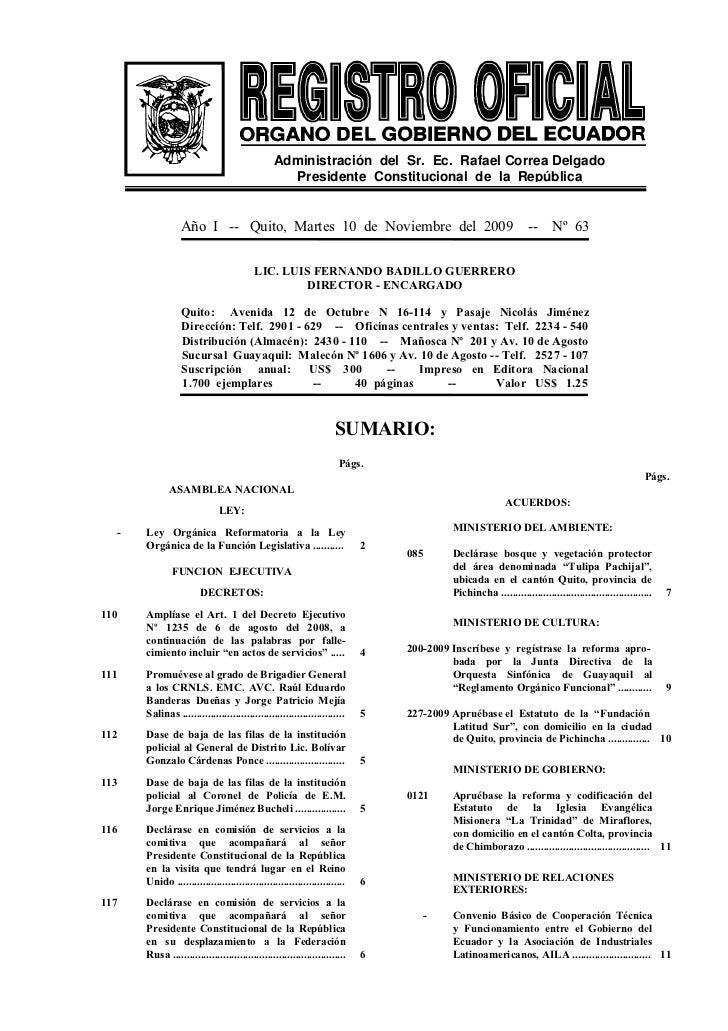 Administración del Sr. Ec. Rafael Correa Delgado                                                      Presidente Constituc...