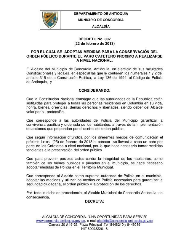 DEPARTAMENTO DE ANTIOQUIA                                MUNICIPIO DE CONCORDIA                                         AL...