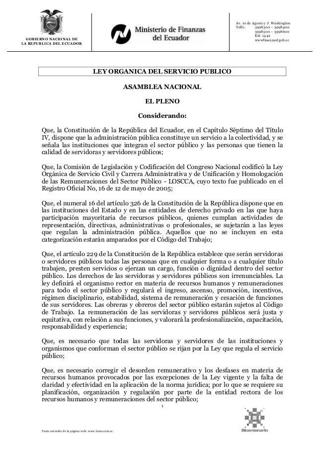 1 Texto extraído de la página web: www.lexis.com.ec GOBIERNO NACIONAL DE LA REPUBLICA DEL ECUADOR Av. 10 de Agosto y J. Wa...