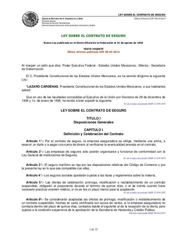 LEY SOBRE EL CONTRATO DE SEGUROCÁMARA DE DIPUTADOS DEL H. CONGRESO DE LA UNIÓNSecretaría GeneralSecretaría de Servicios Pa...