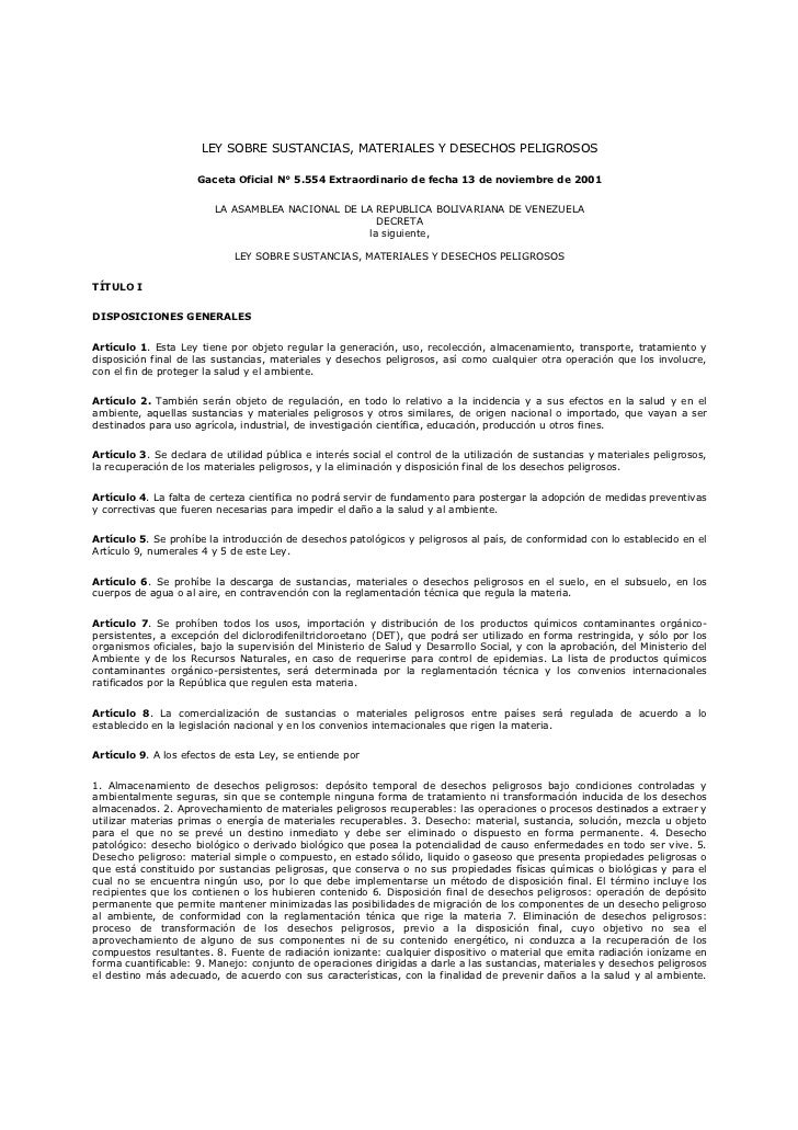 LEY SOBRE SUSTANCIAS, MATERIALES Y DESECHOS PELIGROSOS                     Gaceta Oficial N° 5.554 Extraordinario de fecha...