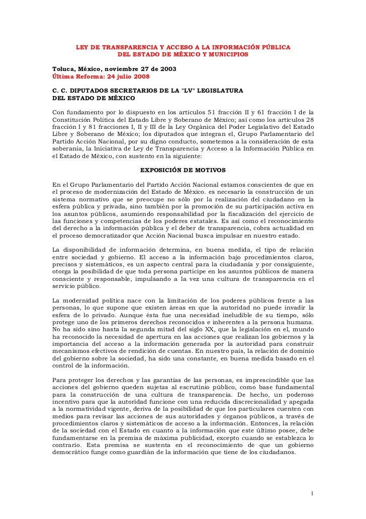 LEY DE TRANSPARENCIA Y ACCESO A LA INFORMACIÓN PÚBLICA                  DEL ESTADO DE MÉXICO Y MUNICIPIOSToluca, México, n...
