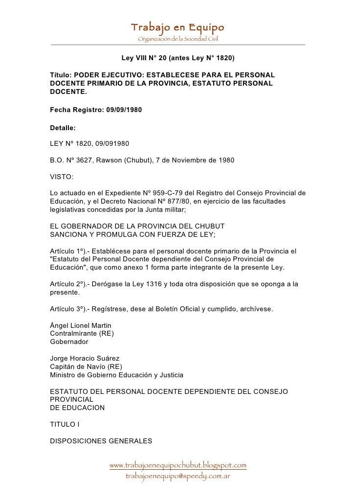 Trabajo en Equipo                             Organización de la Sociedad Civil                          Ley VIII N° 20 (a...