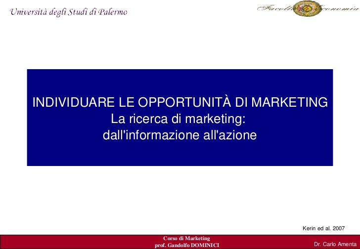 INDIVIDUARE LE OPPORTUNITÀ DI MARKETING         IL PROCESSO DI MARKETING:             La ricerca di marketing:            ...