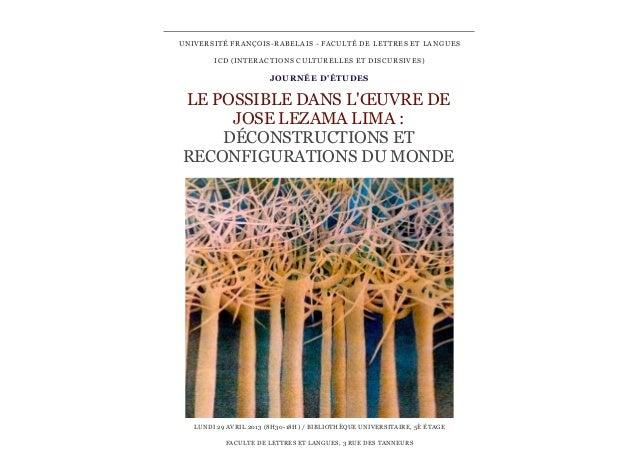 UNIVERSITÉ FRANÇOIS-RABELAIS - FACULTÉ DE LETTRES ET LANGUES        ICD (INTERACTIONS CULTURELLES ET DISCURSIVES)         ...