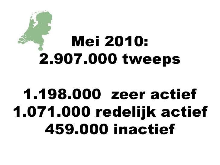 Mei 2010:<br />2.907.000 tweeps<br />1.198.000  zeer actief<br />1.071.000 redelijk actief<br />459.000 inactief<br />