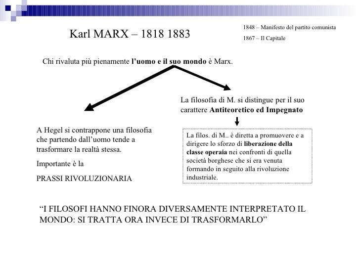 Karl MARX – 1818 1883 Chi rivaluta più pienamente  l'uomo e il suo mondo  è Marx. La filosofia di M. si distingue per il s...
