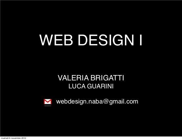 WEB DESIGN I                            VALERIA BRIGATTI                              LUCA GUARINI                        ...