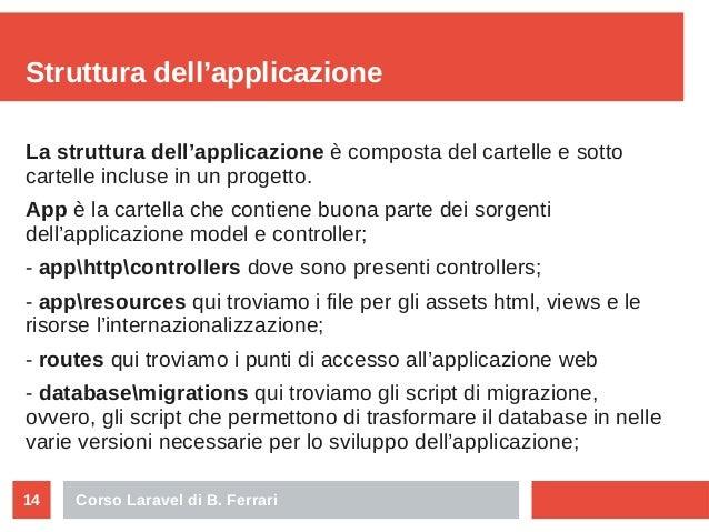 Corso Laravel di B. Ferrari14 Struttura dell'applicazione La struttura dell'applicazione è composta del cartelle e sotto c...
