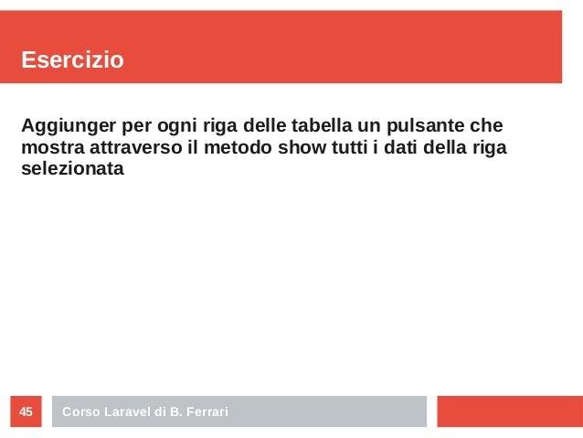Corso Laravel di B. Ferrari45 Esercizio Aggiunger per ogni riga delle tabella un pulsante che mostra attraverso il metodo ...