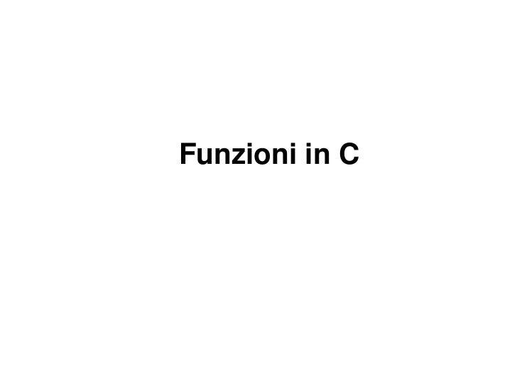 Funzioni in C