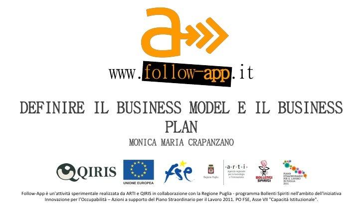 www.follow-app.it        DEFINIRE IL BUSINESS MODEL E IL BUSINESS                          PLAN                           ...