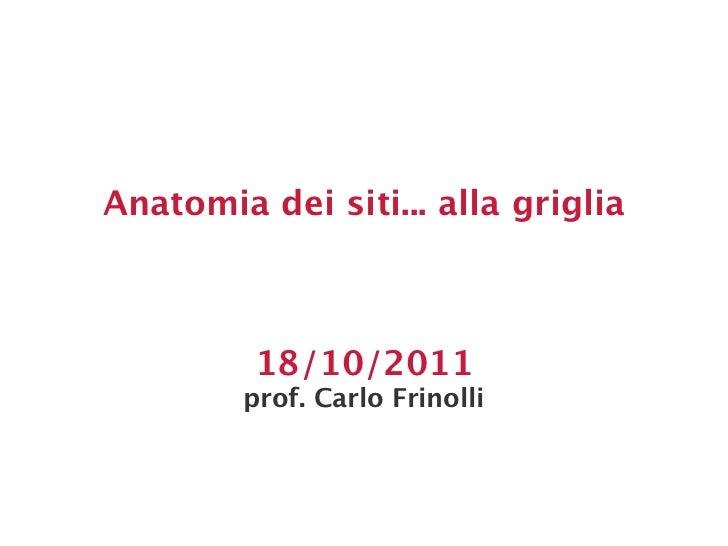 Anatomia dei siti... alla griglia         18/10/2011        prof. Carlo Frinolli