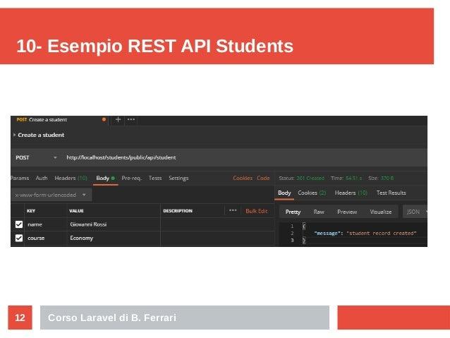 Corso Laravel di B. Ferrari12 10- Esempio REST API Students