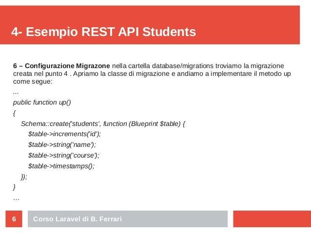 Corso Laravel di B. Ferrari6 4- Esempio REST API Students 6 – Configurazione Migrazone nella cartella database/migrations ...