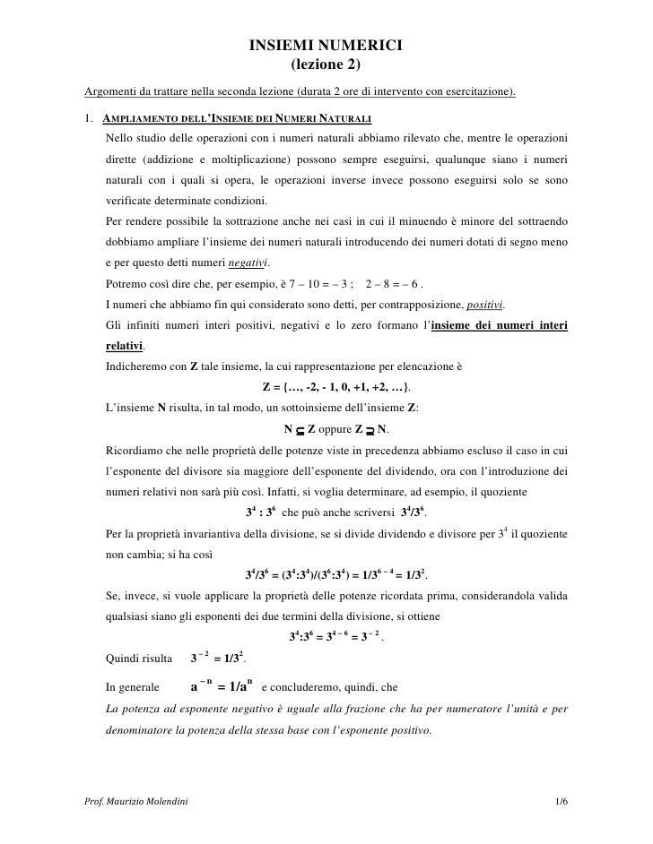 INSIEMI NUMERICI                                                (lezione 2)Argomenti da trattare nella seconda lezione (du...