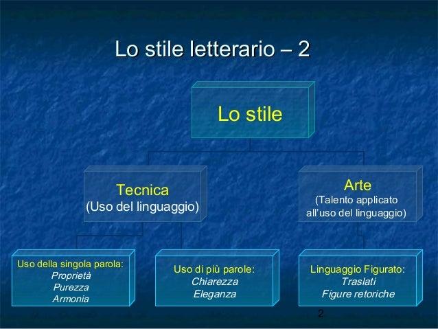Lo stile letterario – 2 Lo stile Arte  Tecnica  (Uso del linguaggio)  Uso della singola parola: Proprietà Purezza Armonia ...