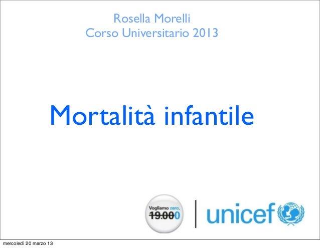 Rosella Morelli                        Corso Universitario 2013                   Mortalità infantilemercoledì 20 marzo 13