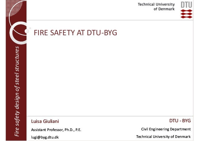 Fire safety design of steel structures  FIRE SAFETY AT DTU‐BYG  Luisa Giuliani Assistant Professor, Ph.D., P.E. lugi@byg.d...