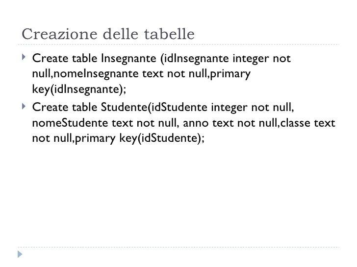 Creazione delle tabelle <ul><li>Create table Insegnante (idInsegnante integer not null,nomeInsegnante text not null,primar...