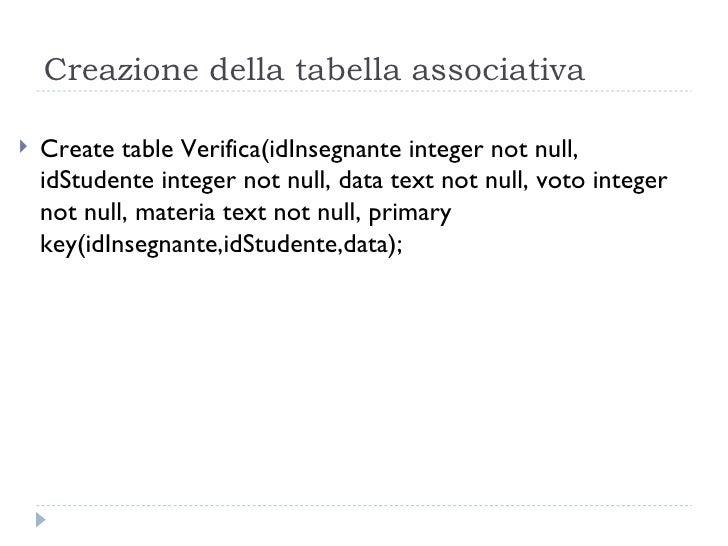 Creazione della tabella associativa <ul><li>Create table Verifica(idInsegnante integer not null, idStudente integer not nu...