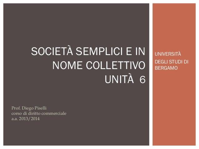 SOCIETÀ SEMPLICI E IN NOME COLLETTIVO UNITÀ 6 Prof. Diego Piselli corso di diritto commerciale a.a. 2013/2014  UNIVERSITÀ ...