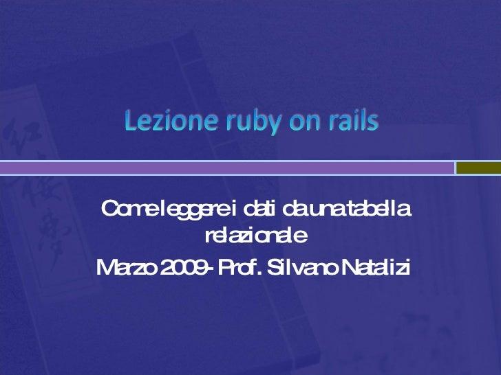 Come leggere i dati da una tabella relazionale Marzo 2009- Prof. Silvano Natalizi