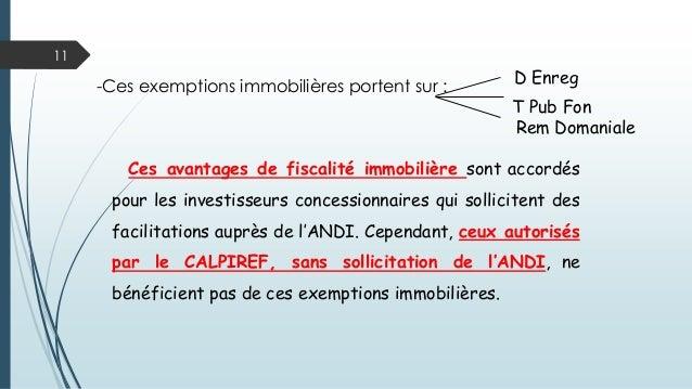 11 D Enreg-Ces exemptions immobilières portent sur : T Pub Fon Rem Domaniale Ces avantages de fiscalité immobilière sont a...