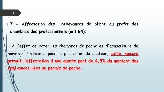 17 7 - Affectation des redevances de pèche au profit des chambres des professionnels (art 64): A l'effet de doter les cham...