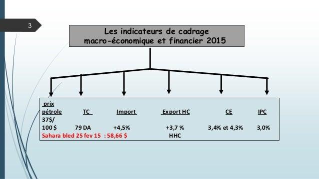 Les indicateurs de cadrage macro-économique et financier 2015 prix pétrole TC Import Export HC CE IPC 37$/ 100 $ 79 DA +4,...