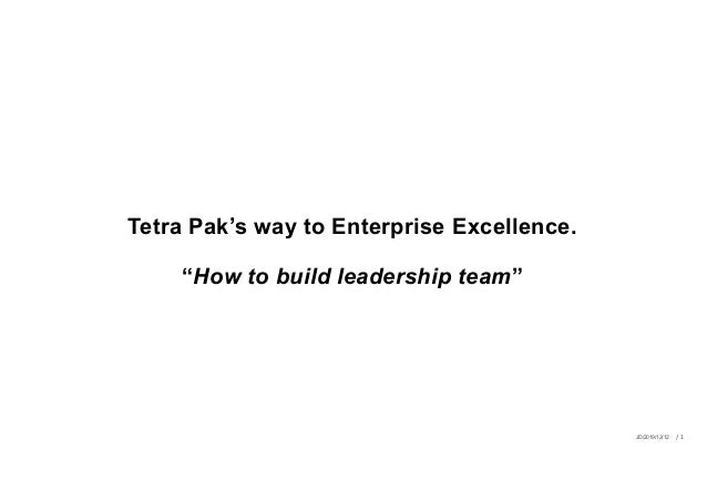"Tetra Pak's way to Enterprise Excellence. ""How to build leadership team"" JD/2019/12/12 / 1"