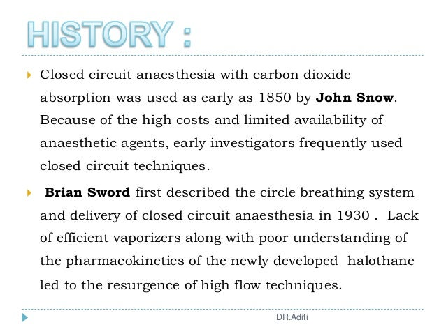  Closed circuit anaesthesia with carbon dioxide absorption was used as early as 1850 by John Snow. Because of the high co...