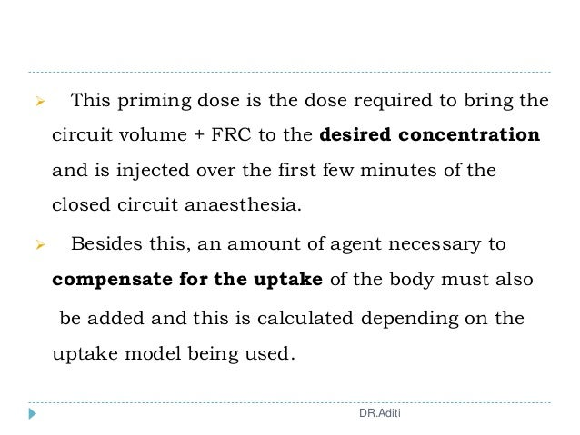  This priming dose is the dose required to bring the circuit volume + FRC to the desired concentration and is injected ov...
