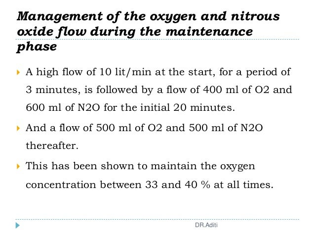  A high flow of 10 lit/min at the start, for a period of 3 minutes, is followed by a flow of 400 ml of O2 and 600 ml of N...