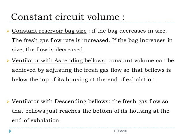 Constant circuit volume :  Constant reservoir bag size : if the bag decreases in size. The fresh gas flow rate is increas...