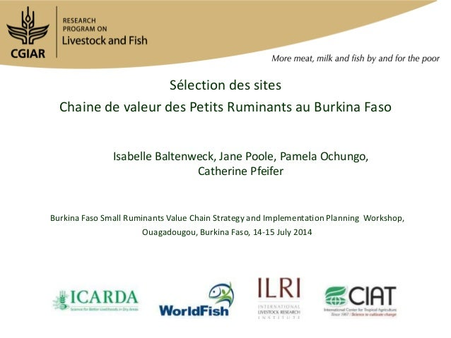 Sélection des sites Chaine de valeur des Petits Ruminants au Burkina Faso Isabelle Baltenweck, Jane Poole, Pamela Ochungo,...