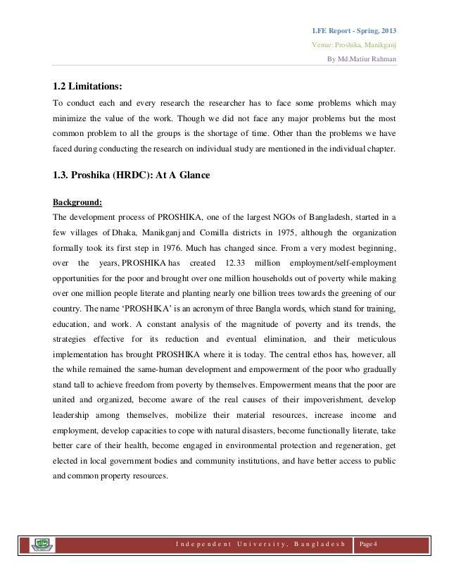 Live in field experience (LFE) Final report