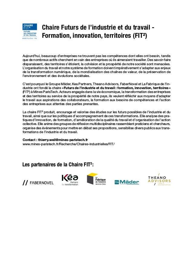 Un laboratoire d'idées pour l'industrie Chaire Futurs de l'industrie et du travail- Formation, innovation, territoires (F...