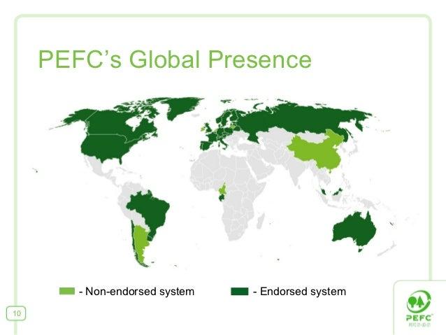 PEFC's Global Presence        - Non-endorsed system   - Endorsed system10